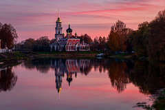 Staraya Russa (gubanov77) Tags: sunset autumn landscape nature polistriver reflection october water river starayarussa russia travelphotography church temple cathedral nationalgeographic orthodox promenade dusk twilight goldenhour voskresenskiysobor voskresenskiycathedral