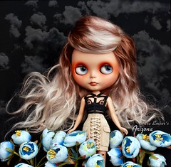 A sea of bright blue (pure_embers) Tags: pure embers blythe doll dolls laura england uk custom old gbaby arizona orange takara sunshine holiday neo hair ombre blonde mohair reroot girl photography portrait blue flowers sea