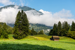 Little House on the Prairie (George Plakides) Tags: farm house shed store barn meadow mountain cloud low trees grass