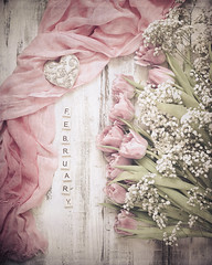 February Still Life (Ro Cafe) Tags: stilllife tabletop flatlay flowers tulips february soft softcolors pink pastelcolors highkey textured romantic femenine heart nikkor50mmf14 sonya7iii