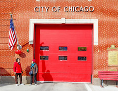 Americans (kirstiecat) Tags: chinatown chicago happychinesenewyear chinesenewyear lunarnewyear street firedepartment people red color colour canon friends conversation talking shadows city