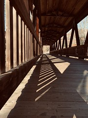 (meghanavdeshpande) Tags: bridge wooden lightandshadows shadows madeofwood iphonephotography hiking coveredbridge vickerycreektrail