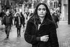 Monday (Leanne Boulton) Tags: urban street candid portrait portraiture streetphotography candidstreetphotography candidportrait streetportrait streetlife eyecontact candideyecontact woman female girl face eyes expression mood emotion feeling monday blues moody hair fur furry coat style fashion atmosphere striking character tone texture detail depthoffield bokeh naturallight outdoor light shade city scene human life living humanity society culture lifestyle people canon canon5dmkiii 70mm ef2470mmf28liiusm black white blackwhite bw mono blackandwhite monochrome glasgow scotland uk