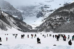 Skating on the Lake (Anthony Mark Images) Tags: mountains snow ice snowcoveredtrees alberta canada lakelouise lovely beautiful banffnationalpark people skating hockey hiking frosenlake winter winterscenery winterlandscape frozenwaterfall nikon d850 flickrclickx wintersports