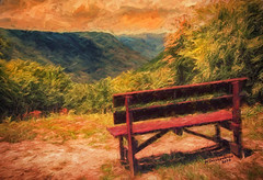 Bench to Enjoy the view from the Babcock State Park Overlook of the New River Gorge, a digital painting (PhotosToArtByMike) Tags: babcockstatepark overlook view bench newrivergorge digitalpainting digitalart painting photopainting newriver westvirginia wv newrivergorgenationalriver southernwestvirginia appalachianmountains nationalparkservice ruins coal formercoalmining logging