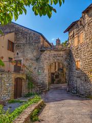Porte de Cantobre (doumé piazzolli) Tags: cantobre villagemédiéval village patrimoine paysage aveyron arbre architecture occitanie france fz200
