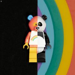 Rainbow Panda (Jezbags) Tags: rainbow panda lego legos toy toyphotography toys canon canon80d 80d 100mm macro macrophotography macrodreams macrolego colours blackwhite