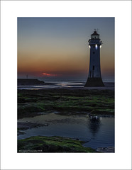 Perch Rock Lighthouse (Fermat 48) Tags: perchrock newbrighton lighthouse wirral sunset reflection green moss water sea rivermersey night canon eos 7dmarkii