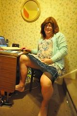 Flickering tonight (petra fluffy tart) Tags: petra cardigan dress skirt upskirt barefoot