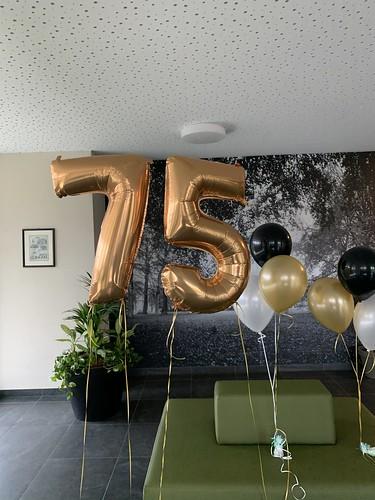 Folieballon Cijfer 75 De Wielewaal Rotterdam