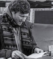 Don't understand a word of it (Patricia Wilden) Tags: cambridge eos70d puzzled rabbit blackandwhite markettrader bookstall street steam