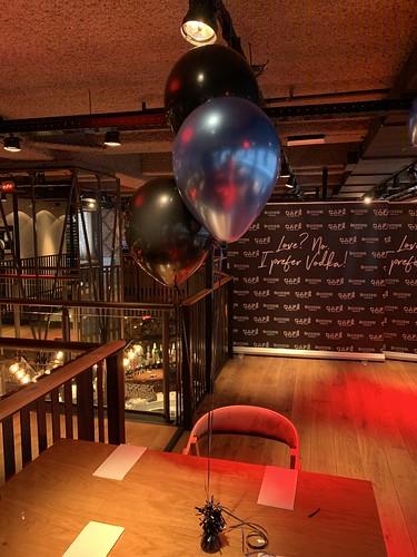 Tafeldecoratie 3ballonnen Rene Froger Cafe in the City Rotterdam