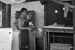 Street Butcher (Beegee49) Tags: street people man smoking butcher monochrome sony blackandwhite bw a6000 bacolod city philippines asia