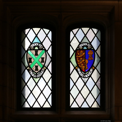 Stained glass windows: City of Plymouth and City of Chester