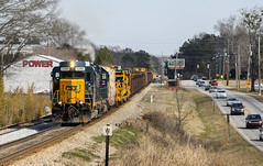 Sluggin' Away (weshendrix) Tags: csx abbeville subdivision atlanta division bogart athens georgia ga train railfan railfanning railroad rr railroading freight mow maintenance way rail emd road slug rdslug gp402 standard cab diesel engine locomotive vehicle outdoor building sky winter south
