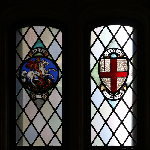 Stained glass windows: Saint George and City of London