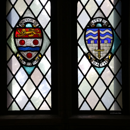 Stained glass windows: Borough of Maidstone and City of Bath