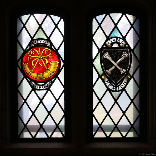 Stained glass windows: City of Rippon and Issac Newton