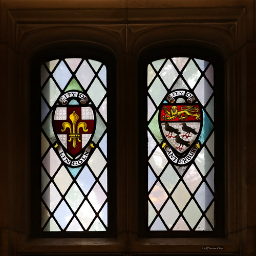 Stained glass windows: City of Lincoln and City of Canterbury