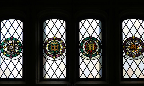 Stained glass windows: Fragments from the Houses of Parliament, House of Commons and House of Lords Emblems