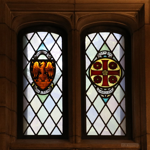 Stained glass windows: Borough of Wallsend and City of Carlisle