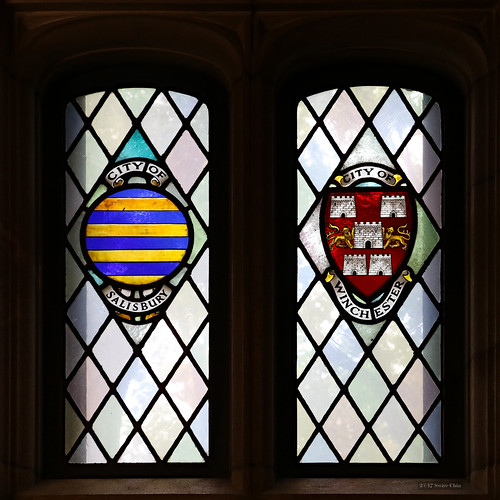 Stained glass windows: City of Salisbury and City of Winchester