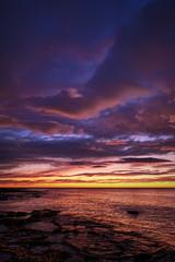 Cloudy morning (Vest der ute) Tags: xt2 spain clouds sky sea seascape landscape rocks sunrise morning fav25