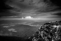 Another View from Mount Buffalo (Graeme O'Rourke) Tags: lrcfn0317v2 inexplore04022020 bw blackandwhite mountain lookout mountbuffalo victoria australia valley rocks mountains bush trees clouds forest