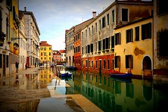 Acqua alta in Cannaregio, Venice (mark.paradox) Tags: venice italy cannaregio streetview city town canal rio beauty colors lomography shore houses water flooding reflection poetic impression december winter europe
