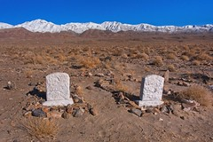 Desert Pioneer Graveyard 2885 A (jim.choate59) Tags: jchoate on1pics grave pioneer keelercalifornia owenlake mining ghosttown tombstone desert mountains snow lonely desolate rx100 graveyard