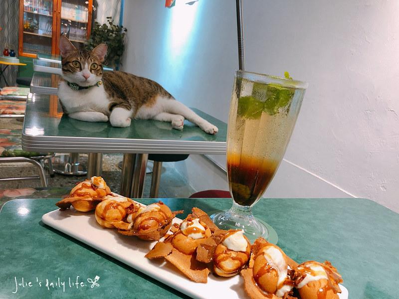 江子翠●晴子冰室-可口月鳥雞蛋糕-貓咪-飲料-創意冰品-不限時附插座