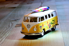 Crazy Tuesday - Sidelight.  Far out man!   IMG_1959 (alisonhalliday) Tags: crazytuesday sidelight macro closeup yellow modelvehicle miniature vwcampervan tabletop colorfulworld cmwdyellow cmwd volkswagen