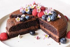 Chocolate Cake, grainfree/glutenfree (gamze avci) Tags: food cake dessert photography baking nikon chocolate paleo foodie glutenfree grainfree flowers raspberries blueberries