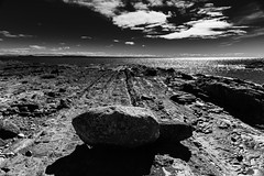 Echoes (.KiLTЯo.) Tags: kiltro cl chile magallanes tierradelfuego patagonia landscape seascape sea ocean magellanstrait water clouds rocks formation geology bw blackandwhite timaukel