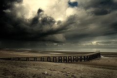 The sinister silence before the storm bursts.... (h.dirix) Tags: normandy france silence sinister storm jetty scaffold
