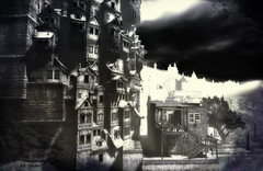 Another life (Eli Medier) Tags: art digitalart exhibition artexhibition gallery artgallery photography textured poem poet poetry literature landscape night nocturne sky houses blackandwhite sl secondlife
