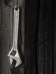 Hanging wrench (citrusjig) Tags: olympus omdem10 helios44258mmf2 blackandwhite