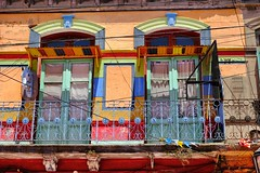 Caminito windows (halifaxlight) Tags: argentina buenosaires laboca building architecture design colourful paintwork ironwork balcony windows doors caminito