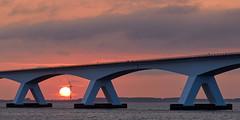 Zeelandbrug (zsnajorrah) Tags: bridge detail architecture windturbine water waterscape sky clouds sunrise sun earlymorning canon 7dmarkii ef70200mmf4l netherlands zeeland colijnsplaat zeelandbrug