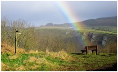 A place to sit....and count your gold. (A tramp in the hills) Tags: rainbow monsalhead derbyshire seat sign walking peakdistrict whitepeak
