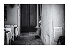 Prêt pour le service ! (bertranddorel) Tags: city blackandwhite bw blancoynegro contrast day bn d750 bnw biancoenero batiment blancetnoir ciutad life light france grey holidays europe lumière human homme lignes graphisme graphique humain geometrique man monochrome mono monocromo nikon noir noiretblanc ngc negro nb nikkor maison mur nero street travel people urban town terrasse streetphoto urbano rue personne ville vie menton urbain