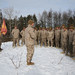 U.S. Marines stand in a school circle after a promotion ceremony during exercise Northern Viper