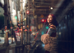 Cambria ({jessica drossin}) Tags: jessicadrossin face portrait person woman girl teen city lights bokeh los angeles winter coat scaffolding wwwjessicadrossincom