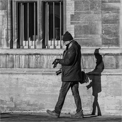 Being Shadowed... (Patricia Wilden) Tags: cambridge street eos70d shadow candid blackandwhite monochrome city urban camera building