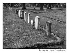 The Long Row (NoJuan) Tags: bw blackwhite blackandwhite silverefexpro digitalbw microfourthirds micro43 mirrorless m43 mft em1 olympusem1 12100mm olympus12100mm cemetery cemeterystone eugene oregon oregoncemetery