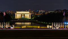 WWII Memorial Fluttering Flags Leading to the Lincoln Memorial (asonyphotographer) Tags: purple wwiimemorial worldwariimemorial lincoln lincolnmemorial reflectionpool nationalmall national memorial flags washingtondc cityscape night nightphotography sony sonya7r3