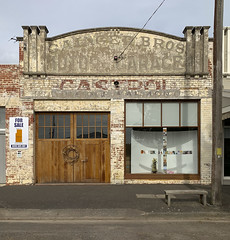 Beeac VIC (phunnyfotos) Tags: phunnyfotos australia victoria vic beeac garage mechanic servicestation castrol motorgarage shopfront facade countrytown gaingerbros harley iphone westerndistrict forsale sign ghostsign architecture building seat emptyseat footpath pavement sidewalk christmasdecorations harleydavidson doors