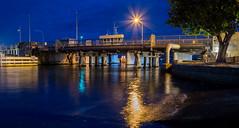 Bridging the tide (OzzRod) Tags: pentax k1 supertakumar35mmf35 night channel bridges navigation foreshore park recreation fishing streetlights starburst complementarycolours dailyinfebruary2020 swansea swanseachannel lake macquarie newcastle