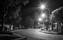 Quiet night (OzzRod) Tags: pentax k1 supertakumar35mmf35 night road streetlights starbursts monochrome blackandwhite swansea lakemacquarie newcastle