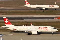 HB-JCM_01 (GH@BHD) Tags: hbjcm airbus a220 a220300 a223 bombardier cs300 cseries cseries300 a321 a321200 hbiol lx swr swiss swissglobalairlines zurichairport swissinternationalairlines zrh lszh zurich kloten aircraft aviation airliner